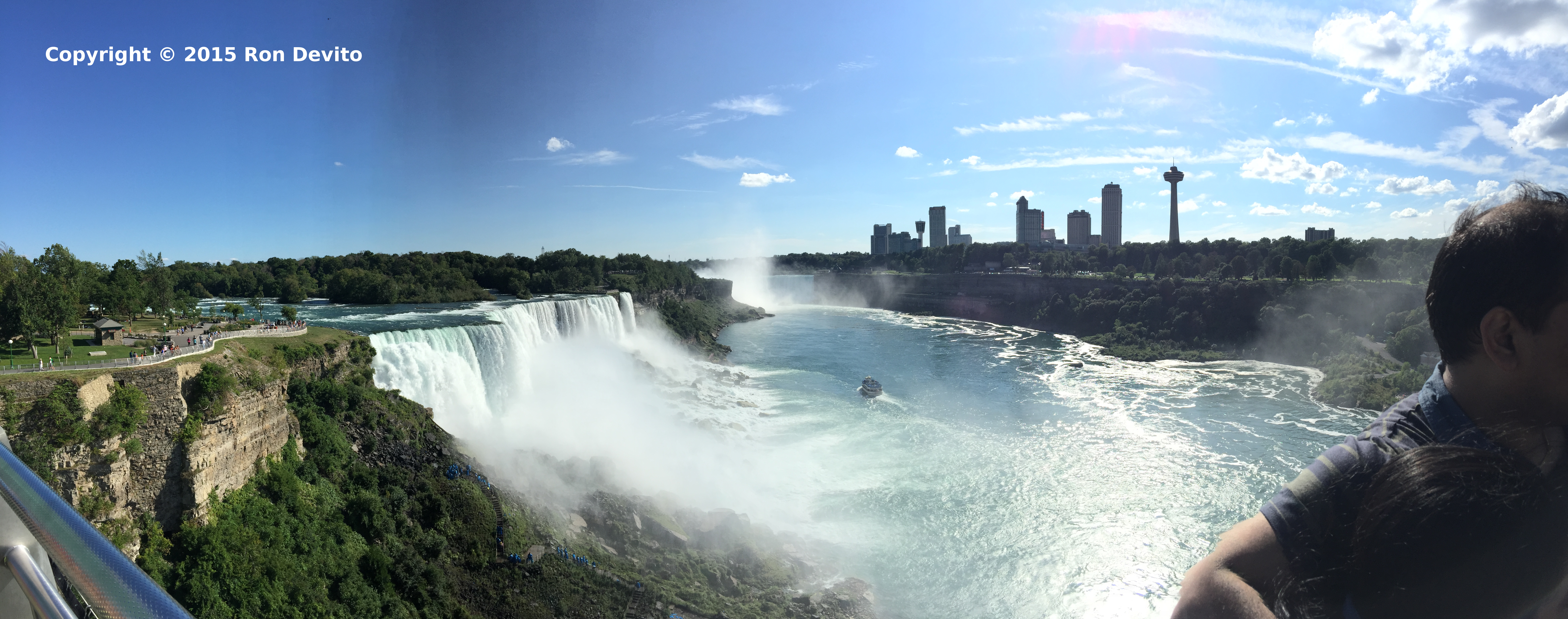 View from Niagara Falls State Park Observation Tower looking toward the American Falls, Horseshoe Falls and Niagara Falls, Ontario skyline.