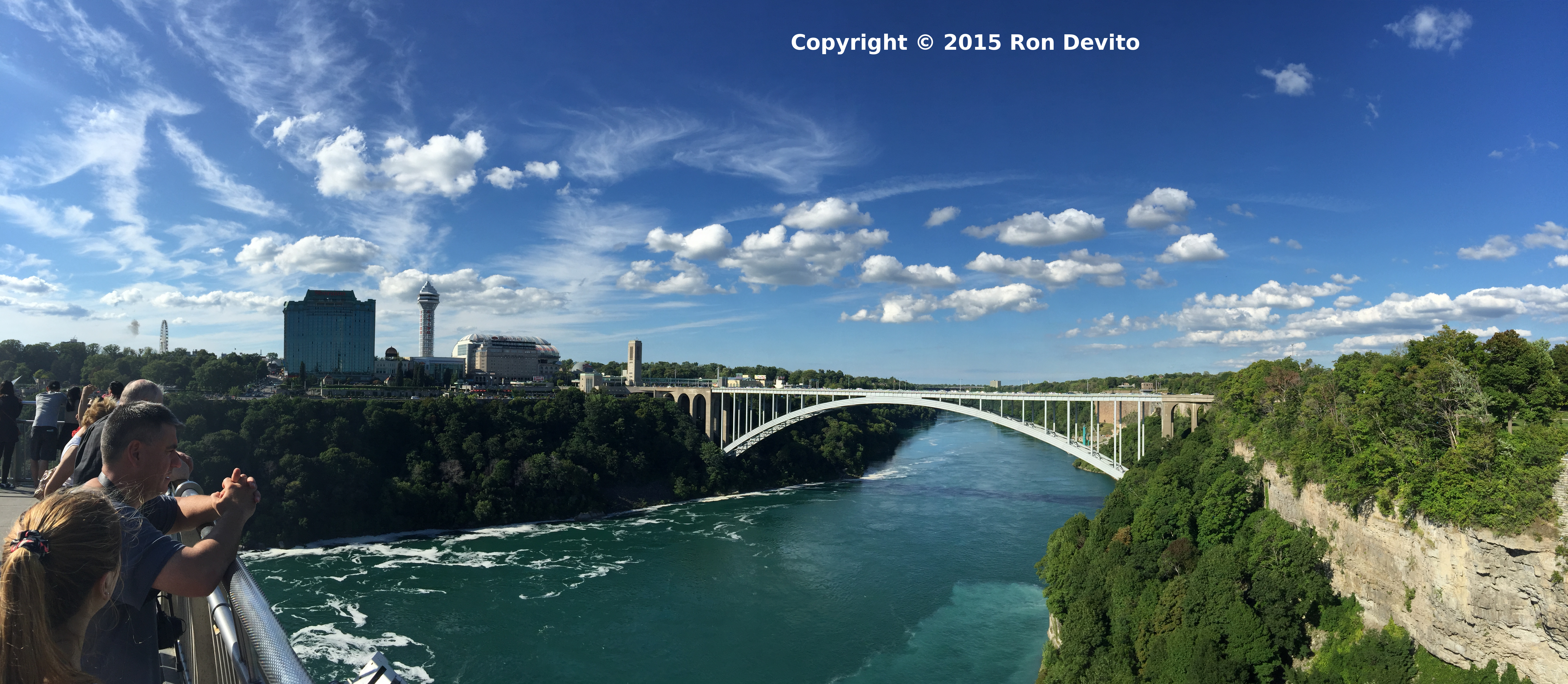 Pano View from Niagara Falls State Park Observation Tower looking toward the Rainbow Bridge into Canada.